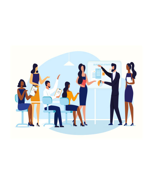 Illustration with business meeting and people leading the meeting